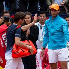 Spanish tennis player Rafa Nadal (R) greets countryman David Ferrer (L) after his victory in their third round men's single match at the 67th Barcelona Open tennis tournament, in Barcelona, Spain, Apr. 25, 2019. EPA-EFE/Enric Fontcuberta
