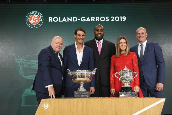 Rafael Nadal, Bernard Giudicelli, Teddy Riner, Guy Forget, Simona Halep, Tirage au Sort, Roland Garros 2019, Photo : Julien Crosnier / FFT