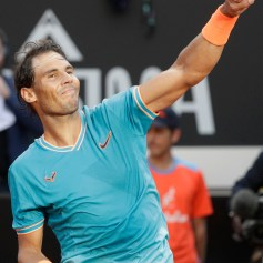Rafael Nadal of Spain celebrates winning against Novak Djokovic of Serbia at the end of their final match at the Italian Open tennis tournament, in Rome, Sunday, May 19, 2019. (AP Photo/Gregorio Borgia)
