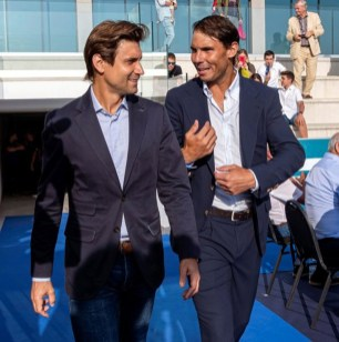 epa07641665 Spanish tennis player Rafa Nadal (R) and former player David Ferrer (L) attend the graduation ceremony of Rafa Nadal Academy, students of American International School of Mallorca, in Manacor, Balearic Islands, Spain, 11 June 2019. EPA-EFE/CATI CLADERA