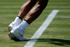 29th June 2019, The All England Lawn Tennis and Croquet Club, Wimbledon, London, England; Wimbledon Tennis tournament preview day; Detail view of the shoes worn by Rafael Nadal (ESP) during Saturday practice, Image: 452517549, License: Rights-managed, Restrictions: , Model Release: no, Credit line: Profimedia, Actionplus