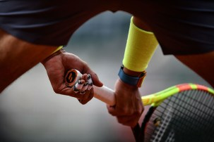 Spain's Rafael Nadal waits to return the ball to Austria's Dominic Thiem during their men's singles final match, on day fifteen of The Roland Garros 2019 French Open tennis tournament in Paris on June 9, 2019. (Photo by Philippe LOPEZ / AFP) (Photo credit should read PHILIPPE LOPEZ/AFP/Getty Images)