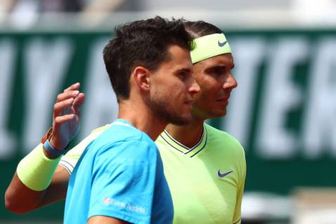 PARIS, FRANCE - JUNE 09: Rafael Nadal of Spain and Dominic Thiem of Austria pose for a photo ahead of their mens singles final during Day fifteen of the 2019 French Open at Roland Garros on June 09, 2019 in Paris, France. (Photo by Julian Finney/Getty Images)