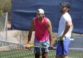 CALVIA, SPAIN - JUNE 17: Rafa Nadal training with his coach Carlos Moya in the tracks of Santa Ponsa tennis club during the WTA Mallorca tennis tournament on June 17, 2019 in CALVIA, Spain. (Photo by Clara Margais/Getty Images)