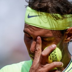 Spain's Rafael Nadal reacts during his men's singles quarter-final match against Japan's Kei Nishikori on day ten of The Roland Garros 2019 French Open tennis tournament in Paris on June 4, 2019. (Photo by Kenzo TRIBOUILLARD / AFP) (Photo credit should read KENZO TRIBOUILLARD/AFP/Getty Images)