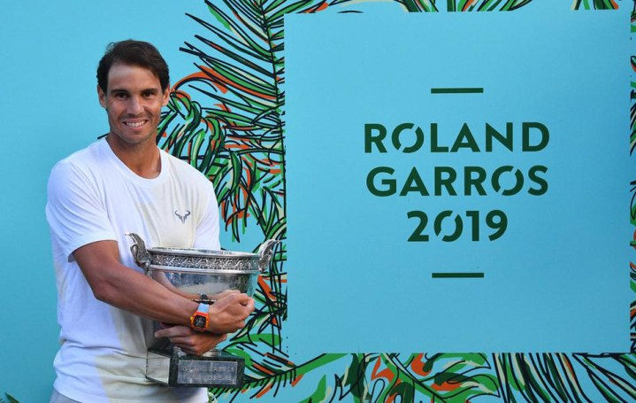 Rafael Nadal of Spain poses with the trophy after winning the men's singles final match against Dominic Thiem (not seen) of Austria at the French Open tennis tournament at Roland Garros Stadium in Paris, France on June 09, 2019., Image: 445469396, License: Rights-managed, Restrictions: , Model Release: no, Credit line: Profimedia, Abaca Press