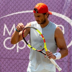 Spanish tennis player Rafa Nadal attends a training session at Country Club in Santa Ponsa, Majorca, Spain, as he prepares for Wimbledon, 21 June 2019. Rafa Nadal attends training session !ACHTUNG: NUR REDAKTIONELLE NUTZUNG! PUBLICATIONxINxGERxSUIxAUTxONLY Copyright: xCATIxCLADERAx GRAF2288 20190621-636967311742282821