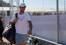 CALVIA, SPAIN - JUNE 17: Rafa Nadal arrives to train in the tracks of Santa Ponsa tennis club during the WTA Mallorca tennis tournament on June 17, 2019 in CALVIA, Spain. (Photo by Clara Margais/Getty Images)