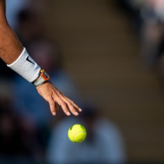Rafael Nadal (ESP) about to serve during the semi-final of the Gentlemen's Singles on Centre Court. The Championships 2019. Held at The All England Lawn Tennis Club, Wimbledon. Day 11 Friday 12/07/2019. Credit: AELTC/Ben Solomon