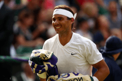 LONDON, ENGLAND - JULY 04: Rafael Nadal of Spain smiles in his Men's Singles second round match against Nick Kyrgios of Australia during Day four of The Championships - Wimbledon 2019 at All England Lawn Tennis and Croquet Club on July 04, 2019 in London, England. (Photo by Clive Brunskill/Getty Images)