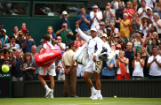LONDON, ENGLAND - JULY 08: Rafael Nadal of Spain acknowledges the crowd as he walks off the court after his Men's Singles fourth round match against Joao Sousa of Portugal during Day Seven of The Championships - Wimbledon 2019 at All England Lawn Tennis and Croquet Club on July 08, 2019 in London, England. (Photo by Clive Brunskill/Getty Images)