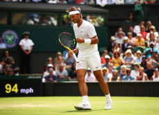 LONDON, ENGLAND - JULY 08: Rafael Nadal of Spain celebrates in his Men's Singles fourth round match against Joao Sousa of Portugal during Day Seven of The Championships - Wimbledon 2019 at All England Lawn Tennis and Croquet Club on July 08, 2019 in London, England. (Photo by Clive Brunskill/Getty Images)
