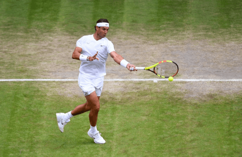 Rafael Nadal in action against Sam Querrey on day nine of the Wimbledon Championships at the All England Lawn Tennis and Croquet Club, Wimbledon. (Photo by Victoria Jones/PA Images via Getty Images)