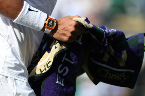 2nd July 2019, The All England Lawn Tennis and Croquet Club, Wimbledon, England, Wimbledon Tennis Tournament, Day 2; Rafael Nadal (ESP) is seen wearing his Richard Mille RM27-03 tourbillon watch during his match with Yuichi Sugita (JPN) (Photo by Shaun Brooks/Action Plus via Getty Images)