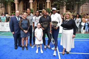 "NEW YORK, NEW YORK - AUGUST 22: (L-R) Dylan Dreyer, Rafael Nadal, Cori ""Coco"" Gauff, Serena Williams and Venus Williams attend the 2019 Palace Invitational at Lotte New York Palace on August 22, 2019 in New York City. (Photo by Jamie McCarthy/Getty Images for Lotte New York Palace)"