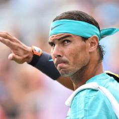 MONTREAL, QC - AUGUST 07: Rafael Nadal of Spain takes to the court against Daniel Evans of Great Britain after a rain delay during day 6 of the Rogers Cup at IGA Stadium on August 7, 2019 in Montreal, Quebec, Canada. (Photo by Minas Panagiotakis/Getty Images)
