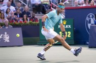 August 9, 2019, Montreal, PQ, Canada: Rafael Nadal of Spain hits the ball in between his legs to return to Fabio Fognini of Italy during quarter-finals play at the Rogers Cup tennis tournament Friday August 9, 2019 in Montreal., Image: 463892543, License: Rights-managed, Restrictions: * Canada and U.S. RIGHTS OUT *, Model Release: no, Credit line: Profimedia, Zuma Press