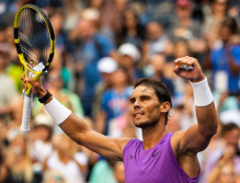NEW YORK, NEW YORK - AUGUST 31: Rafael Nadal of Spain celebrates his victory over Hyeon Chung of South Korea in the third round on Arthur Ashe Stadium at the USTA Billie Jean King National Tennis Center on August 31, 2019 in New York City. (Photo by TPN/Getty Images)