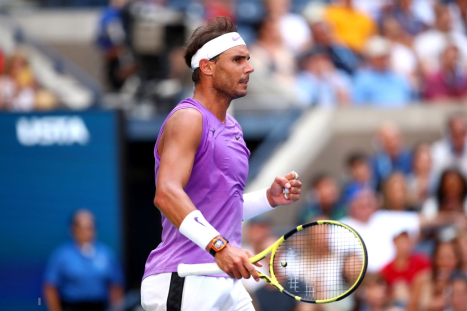 NEW YORK, NEW YORK - AUGUST 31: Rafael Nadal of Spain reacts during his Men's Singles third round match against Hyeon Chung of South Korea on day six of the 2019 US Open at the USTA Billie Jean King National Tennis Center on August 31, 2019 in Queens borough of New York City. (Photo by Clive Brunskill/Getty Images)