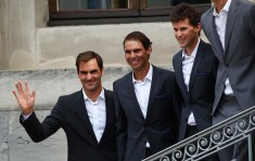 Tennis - Official welcome of Laver Cup teams - Geneva, Switzerland - September 18, 2019 Team Europe's Roger Federer, Rafael Nadal and Dominic Thiem during the official welcome REUTERS/Denis Balibouse