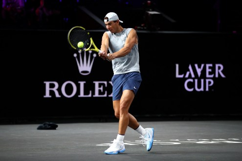 GENEVA, SWITZERLAND - SEPTEMBER 19: Rafael Nadal of Team Europe plays a backhand during a practice session ahead of the Laver Cup 2019 at Palexpo on September 19, 2019 in Geneva, Switzerland. The Laver Cup will see six players from the rest of the World competing against their counterparts from Europe. Team World is captained by John McEnroe and Team Europe is captained by Bjorn Borg. The tournament runs from September 20-22. (Photo by Julian Finney/Getty Images for Laver Cup)