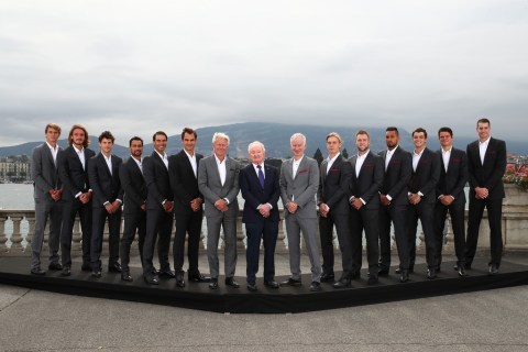 GENEVA, SWITZERLAND - SEPTEMBER 18: (L-R) Team Europe and Team World, Alexander Zverev, Stefanos Tsitsipas, Dominic Thiem, Roberto Bautista Agut, Fabio Fognini, Rafael Nadal, Roger Federer, Thomas Enqvist, Bjorn Borg, Rod Laver, John McEnroe, Patrick McEnroe, Denis Shapovalov, Jordon Thompson, Jack Sock, Nick Kyrgios, Taylor Fritz, Milos Raonic and John Isner pose for a photo prior to the Laver Cup 2019 at Palexpo, on September 18, 2019 in Geneva, Switzerland. (The Laver Cup consists of six players from the rest of the World competing against their counterparts from Europe. John McEnroe will captain the Rest of the World team and Europe will be captained by Bjorn Borg) The event runs from 20-22 Sept. (Photo by Clive Brunskill/Getty Images for Laver Cup)