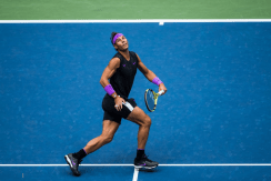 NEW YORK, NEW YORK - SEPTEMBER 08: Rafael Nadal of Spain returns a shot during his Men's Singles final match against Danill Medvedev of Russia on day fourteen of the 2019 US Open at the USTA Billie Jean King National Tennis Center on September 08, 2019 in Queens borough of New York City. (Photo by Chaz Niell/Getty Images)
