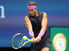 NEW YORK, NEW YORK - SEPTEMBER 08: Rafael Nadal of Spain returns a shot during his Men's Singles final match against Daniil Medvedev of Russia on day fourteen of the 2019 US Open at the USTA Billie Jean King National Tennis Center on September 08, 2019 in the Queens borough of New York City. (Photo by Elsa/Getty Images)