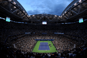 NEW YORK, NEW YORK - SEPTEMBER 08: A general view is seen during the Men's Singles final match between Rafael Nadal of Spain and Daniil Medvedev of Russia on day fourteen of the 2019 US Open at the USTA Billie Jean King National Tennis Center on September 08, 2019 in the Queens borough of New York City. (Photo by Clive Brunskill/Getty Images)