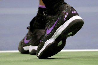 NEW YORK, NEW YORK - SEPTEMBER 04: A detailed view of the sneakers of Rafael Nadal of Spain during his Men's Singles quarterfinal match against Diego Schwartzman of Argentina on day ten of the 2019 US Open at the USTA Billie Jean King National Tennis Center on September 04, 2019 in the Queens borough of New York City. (Photo by Justin Heiman/Getty Images)