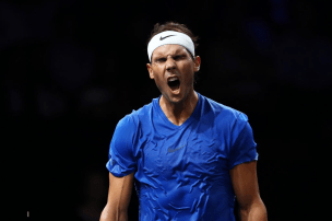 GENEVA, SWITZERLAND - SEPTEMBER 21: Rafael Nadal of Team Europe reacts in his singles match against Milos Raonic of Team World during Day Two of the Laver Cup 2019 at Palexpo on September 21, 2019 in Geneva, Switzerland. The Laver Cup will see six players from the rest of the World competing against their counterparts from Europe. Team World is captained by John McEnroe and Team Europe is captained by Bjorn Borg. The tournament runs from September 20-22. (Photo by Julian Finney/Getty Images for Laver Cup)