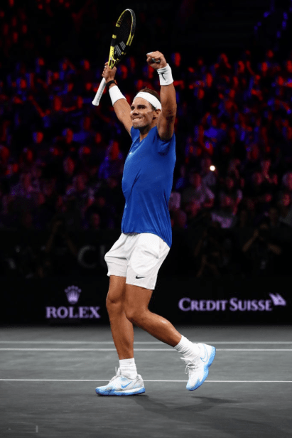 GENEVA, SWITZERLAND - SEPTEMBER 21: Rafael Nadal of Team Europe celebrates match point in his singles match against Milos Raonic of Team World during Day Two of the Laver Cup 2019 at Palexpo on September 21, 2019 in Geneva, Switzerland. The Laver Cup will see six players from the rest of the World competing against their counterparts from Europe. Team World is captained by John McEnroe and Team Europe is captained by Bjorn Borg. The tournament runs from September 20-22. (Photo by Julian Finney/Getty Images for Laver Cup)