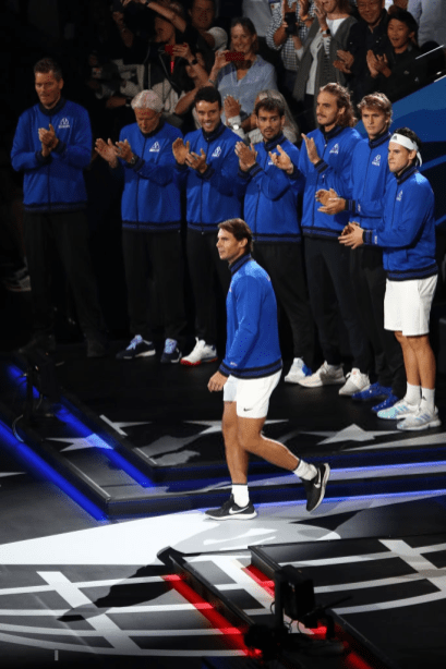 GENEVA, SWITZERLAND - SEPTEMBER 20: Rafael Nadal of Team Europe walks out as he is introduced during Day One of the Laver Cup 2019 at Palexpo on September 20, 2019 in Geneva, Switzerland. The Laver Cup will see six players from the rest of the World competing against their counterparts from Europe. Team World is captained by John McEnroe and Team Europe is captained by Bjorn Borg. The tournament runs from September 20-22. (Photo by Julian Finney/Getty Images for Laver Cup)