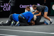 GENEVA, SWITZERLAND - SEPTEMBER 22: Team Europe celebrate Laver Cup point in the final match of the tournament against Milos Raonic of Team World during Day Three of the Laver Cup 2019 at Palexpo on September 22, 2019 in Geneva, Switzerland. The Laver Cup will see six players from the rest of the World competing against their counterparts from Europe. Team World is captained by John McEnroe and Team Europe is captained by Bjorn Borg. The tournament runs from September 20-22. (Photo by Julian Finney/Getty Images for Laver Cup)