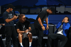 GENEVA, SWITZERLAND - SEPTEMBER 22: Rafael Nadal and Roger Federer of Team Europe react in the singles match between Dominic Thiem of Team Europe and Taylor Fritz of Team World during Day Three of the Laver Cup 2019 at Palexpo on September 22, 2019 in Geneva, Switzerland. The Laver Cup will see six players from the rest of the World competing against their counterparts from Europe. Team World is captained by John McEnroe and Team Europe is captained by Bjorn Borg. The tournament runs from September 20-22. (Photo by Julian Finney/Getty Images for Laver Cup)