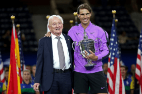 NEW YORK, NEW YORK - SEPTEMBER 08: Rafael Nadal (R) of Spain celebrates with the championship trophy alongside tennis champion Rod Laver (L) during the trophy presentation ceremony after winning his Men's Singles final match against Daniil Medvedev of Russia on day fourteen of the 2019 US Open at the USTA Billie Jean King National Tennis Center on September 08, 2019 in the Queens borough of New York City. (Photo by Matthew Stockman/Getty Images)