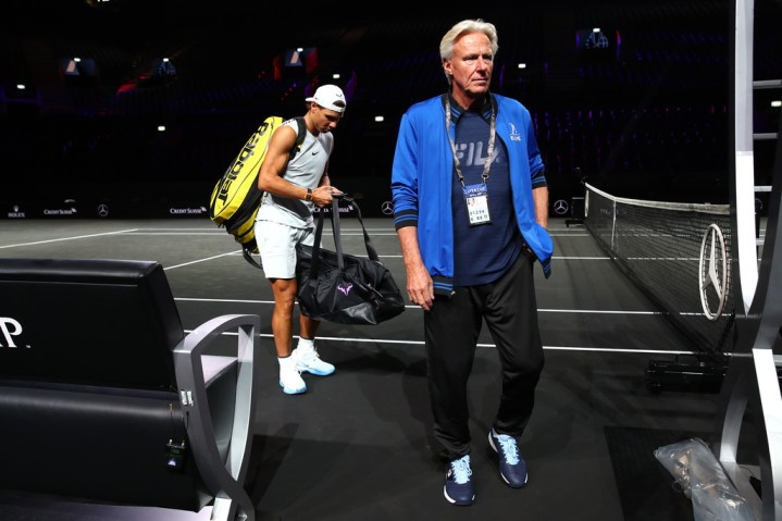 GENEVA, SWITZERLAND - SEPTEMBER 18: Bjorn Borg, Captain of Team Europe and Rafael Nadal of Team Europe leave the court following a practice session ahead of the Laver Cup 2019 at Palexpo, on September 18, 2019 in Geneva, Switzerland. (The Laver Cup consists of six players from the rest of the World competing against their counterparts from Europe. John McEnroe will captain the Rest of the World team and Europe will be captained by Bjorn Borg) The event runs from 20-22 Sept. (Photo by Clive Brunskill/Getty Images for Laver Cup)