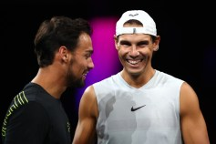 GENEVA, SWITZERLAND - SEPTEMBER 18: Rafael Nadal of Team Europe speaks with teammate Fabio Fognini during a practice session ahead of the Laver Cup 2019 at Palexpo, on September 18, 2019 in Geneva, Switzerland. (The Laver Cup consists of six players from the rest of the World competing against their counterparts from Europe. John McEnroe will captain the Rest of the World team and Europe will be captained by Bjorn Borg) The event runs from 20-22 Sept. (Photo by Julian Finney/Getty Images for Laver Cup)