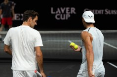 GENEVA, SWITZERLAND - SEPTEMBER 18: Roger Federer and Rafael Nadal (R) of Team Europe take part in a practice session during previews ahead of the Laver Cup 2019 at Palexpo on September 18, 2019 in Geneva, Switzerland. The Laver Cup consists of six players from the rest of the World competing against their counterparts from Europe. John McEnroe will captain the Rest of the World team and Europe will be captained by Bjorn Borg. The event runs from 20-22 Sept. (Photo by Robert Hradil/Getty Images for Laver Cup)