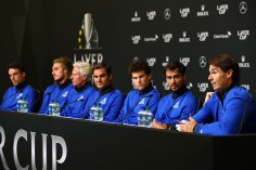GENEVA, SWITZERLAND - SEPTEMBER 19: Rafael Nadal of Team Europe speaks during a press conference ahead of the Laver Cup 2019 at Palexpo on September 19, 2019 in Geneva, Switzerland. The Laver Cup will see six players from the rest of the World competing against their counterparts from Europe. Team World is captained by John McEnroe and Team Europe is captained by Bjorn Borg. The tournament runs from September 20-22. (Photo by Clive Brunskill/Getty Images for Laver Cup)