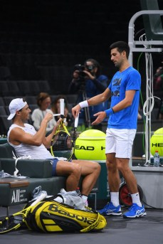 Rafael Nadal (ESP) and Novak Djokovic (SRB) were practicing together on center court at the 2019 Rolex Paris Masters in Paris, FRANCE, on October 26, 2019., Image: 479115258, License: Rights-managed, Restrictions: , Model Release: no, Credit line: Dubreuil Corinne/ABACA / Abaca Press / Profimedia