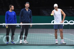 Rafael Nadal (ESP) and Novak Djokovic (SRB) were practicing together on center court at the 2019 Rolex Paris Masters in Paris, FRANCE, on October 26, 2019., Image: 479115375, License: Rights-managed, Restrictions: , Model Release: no, Credit line: Dubreuil Corinne/ABACA / Abaca Press / Profimedia