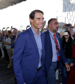 MADRID, SPAIN - OCTOBER 09: Rafa Nadal (L) attends '42Madrid', the programming campus without classes, without teachers and without books that Fundación Telefónica has just opened at Fundacion Telefonica' on October 09, 2019 in Madrid, Spain. (Photo by Europa Press Entertainment/Europa Press via Getty Images)