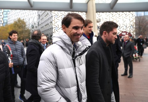 LONDON, ENGLAND - NOVEMBER 08: Rafael Nadal of Spain arrives at the O2 during previews for the Nitto ATP World Tour Finals at The O2 Arena on November 08, 2019 in London, England. (Photo by Alex Pantling/Getty Images)
