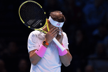 LONDON, ENGLAND - NOVEMBER 13: Rafael Nadal of Spain reacts in his singles match against Daniil Medvedev of Russia during Day Four of the Nitto ATP World Tour Finals at The O2 Arena on November 13, 2019 in London, England. (Photo by Justin Setterfield/Getty Images)