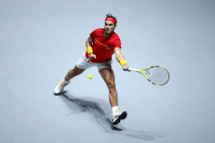 MADRID, SPAIN - NOVEMBER 24: Rafael Nadal of Spain plays a forehand in his singles final match against Denis Shapovalov of Canada during Day Seven of the 2019 Davis Cup at La Caja Magica on November 24, 2019 in Madrid, Spain. (Photo by Clive Brunskill/Getty Images)