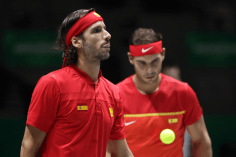 MADRID, SPAIN - NOVEMBER 23: Feliciano Lopez of Spain, playing partner of Rafael Nadal of Spain looks on in their semi-final doubles match against Jamie Murray and Neal Skupski of Great Britain during Day 6 of the 2019 Davis Cup at La Caja Magica on November 23, 2019 in Madrid, Spain. (Photo by Alex Pantling/Getty Images)