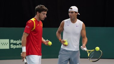 Rafael Nadal and Pablo Carreno Busta 2019 Davis Cup Finals in Madrid