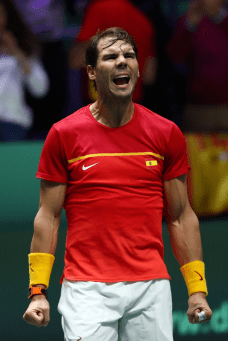 MADRID, SPAIN - NOVEMBER 23: Rafael Nadal of Spain celebrates following his victory in his semi final singles match against Dan Evans of Great Britain during Day 6 of the 2019 Davis Cup at La Caja Magica on November 23, 2019 in Madrid, Spain. (Photo by Clive Brunskill/Getty Images for LTA)