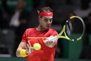MADRID, SPAIN - NOVEMBER 23: Rafael Nadal of Spain plays a forehand in his semi final singles match against Dan Evans of Great Britain during Day 6 of the 2019 Davis Cup at La Caja Magica on November 23, 2019 in Madrid, Spain. (Photo by Alex Pantling/Getty Images)